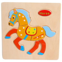 Modern Wooden Horse Puzzle Educational Developmental Baby Kids Training Toy Kids Game Gift Toys wholesale(China)