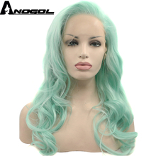 Anogol Glueless High Temperature Heat Resistant Fiber Hair Long Body Wave Mint Green Synthetic Lace Front Wig for Drag Queen(China)