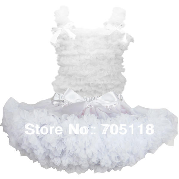 Girls pure white tutu pettiskirt set Children Cloth set chiffon tank top + skirt  free shipping<br><br>Aliexpress