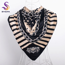 [BYSIFA] Black Beige Turkey Women Head Scarf Spring Autumn Ladies Square Scarves Wraps 100*100cm Striped Dot Silk Scarf Shawl