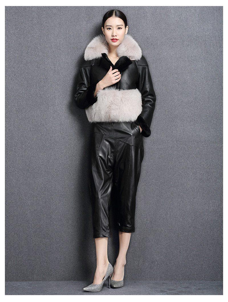 genuine sheep leatherskin jacket fox fur cooar coats (8)