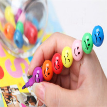 High Quality  New 7 Colors Cute Stacker Swap Smile Face Crayons Children Drawing Gift5.34