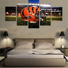 Frameless Orange Helmet Sport Poster Spray Oil Paintings Printed Waterproof Picture 5 Panels Canvas Wall Art Quadri Da Parete