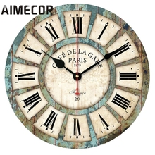 Aimecor European Style Vintage Creative Round Wood Wall Clock Quartz Bracket Clock U61222(China)