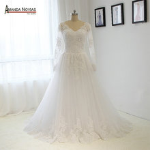 Customized Long Sleeve Lace Appliqued Backless Hijab Wedding Dress NS1305
