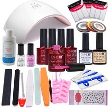 CNHIDS 16Pcs/Lot UV Gel Kit Soak-off Gel Polish Gel Nail Kit Nail Art Tools Sets Kits 24W Led Sun Lamp Manicure File Kit Set(China)