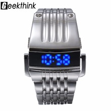 Unique Iron Man's watch Steel Blue Red Digital LED luxury military Fashion Sport Dress Wrist Watch New Male clock male New(China)