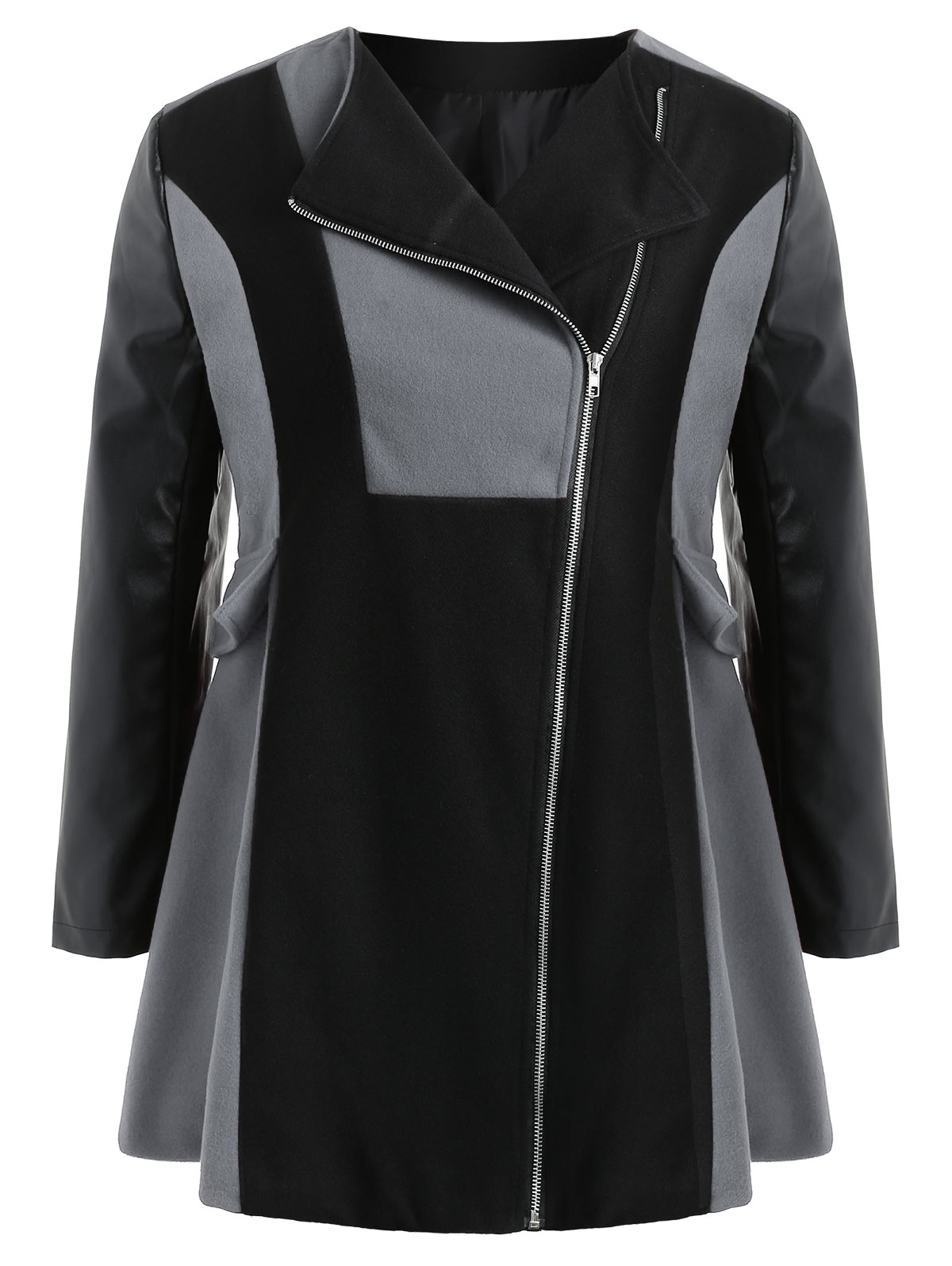 5f1a51d1d78d0 Detail Feedback Questions about Gamiss Plus Size Two Tone Zip Coat ...