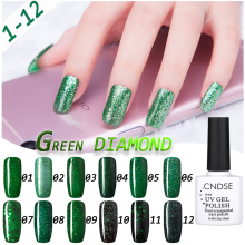 10ML 3D Green Diamond Glitter Gel Polish UV Soak Off Gel Nail Polish Need UV Led Lamp Nail Gelpolish