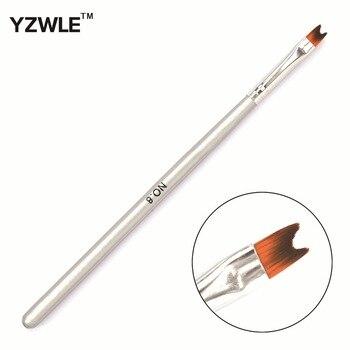YZWLE 1 PC Professional Manicure Brush Silver Wood Handle Half-moon Shape French Nail Brush 05