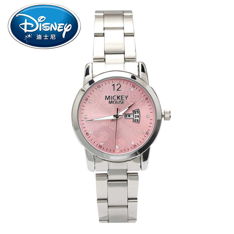Disney Women Lady Watches Female Stainless steel strap Leather Clock Luminous calendar Fashion Elegant Gift Box Quartz Watch <br>