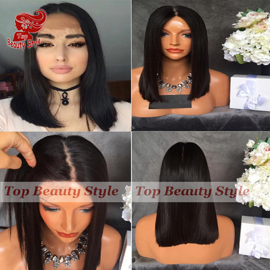2017 Hot Selling Straight Short Bob Wig Synthetic Lace Front Wig Middle Part Natural Hairline Black Wigs for Black Women <br><br>Aliexpress