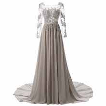 In Stock Scoop Neck Long Sleeve A-line Long Evening Dresses Chiffon Fashion Appliques Beaded Backless Formal Evening Gowns