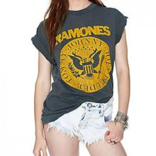 Fashion Casual Ramones Printed Short Sleeves Slim T Shirts Quality Cotton Euro Style Xs-xxl Women Tops E306
