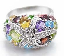 Gem ring Natural amethyst,citrine,peridot ,garnet,blue topaz 925 sterling silver Per jewelry Free shipping #15022302