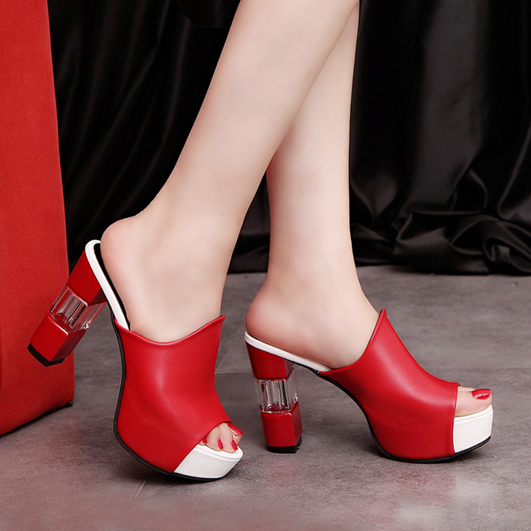 2017 summer women the new high heel sandals, Europe and the United States, the word drag with a female shoe waterproof Taiwan <br><br>Aliexpress