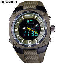 Men Sports Watches BOAMIGO Brand Military Army Green Outdoor Quartz Digital Watch Swim Waterproof Rubber Clock reloj hombre(China)