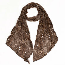 Small Size Fashion Polyester Coffee Leopard Print Women Scarf Fold Scaves