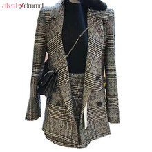 AKSLXDMMD Two Pieces Set Women 2017 New Autumn and Winter Plus Size Fashion Plaid Blazer + Skirt Set Office Suits LH1148(China)