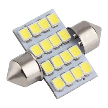16 SMD LED 1210 31mm Car Warm White Interior Dome Festoon Bulb Light Lamp DC 12V C5W Lights Bulb Lamp Drop Shipping