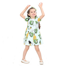 Kid Baby Little Girls Dress Mermaids Printed Short Sleeve Princess Dresses Summer Holiday Party 1-8Y Children's Clothing Green(China)