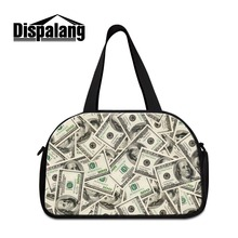 Personalized dollars 3D Print lightweight travel handbags mens carry bag girls Large Capacity luggage garment bag carry on bag(China)
