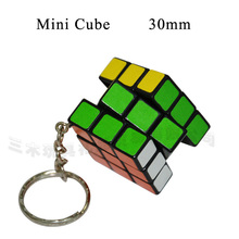 30mm Puzzle Key Chain Hand Spinner Brain Intelligence Games Mini Magic Cube Key Three Layers Cube Puzzle Cubo Magico Toys