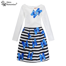 Autumn Winter Girl Dresses Long Sleeve Stripe Butterfly Dress Princess Party Dress for Girls Vestido Teenagers Baby Girl Clothes(China)