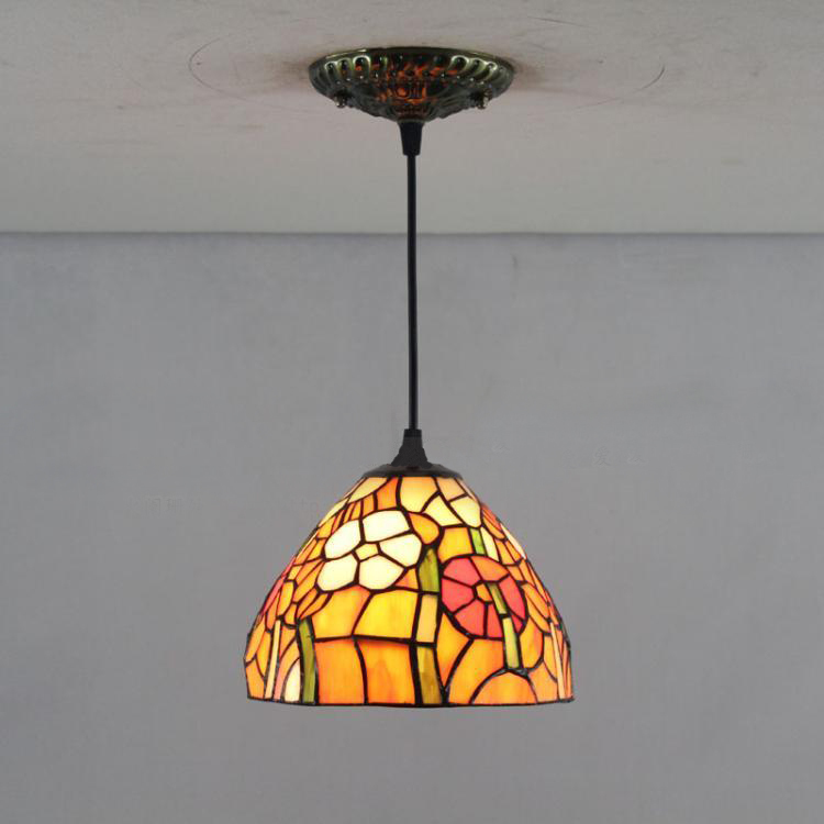 8 Inch Bohemia Pendant Light European Vintage Tiffany Stained Glass Suspension Luminaire Living Room Flowers Tiffany Lamps <br><br>Aliexpress