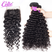 Celie Hair Deep Wave Bundles & Lace Closure 100% Remy Human Hair 4 Pcs/lot Deals Brazilian Hair Weave 3 Bundles With Closure(China)