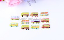 Free shipping -100PCs  Mixed Lovely Bus  car 2 Holes Wood Sewing Buttons Scrapbooking 30x16mm,J2360