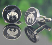 2PCS Free Shipping USA UK Canada Russia Brazil Hot Sale Polish Silver Masonic Shriner Stainless Steel CuffLinks With Black Resin(China)