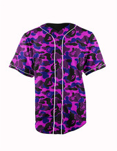 Real American Size  purple  3D Sublimation Print Custom made Button up baseball jersey plus size