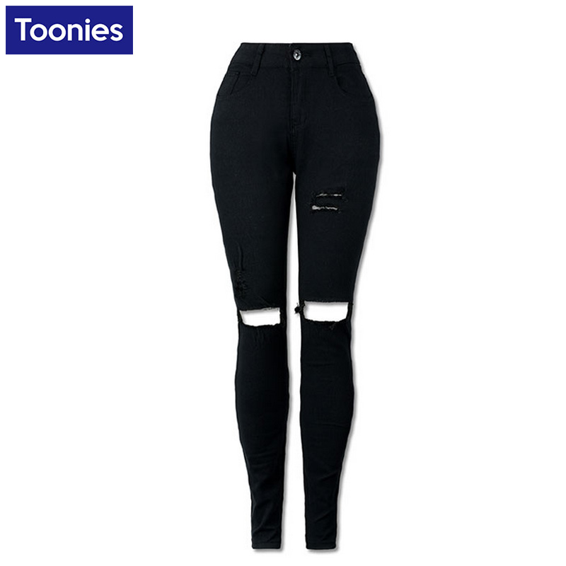 Black High Waist Jeans Women Strench Pencil Skinny Ripped Trousers Hole Fashion Pants Denim Female Plus Size S-2XL Spring FallОдежда и ак�е��уары<br><br><br>Aliexpress