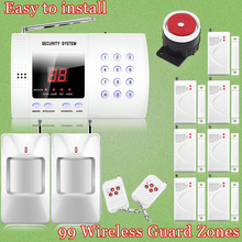 Etiger Wireless 99zone Autodial Phone Burglar PIR Sensor Home Security PSTN SMS Alarm System+Smoke/Fire Detector