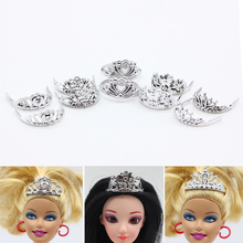 10Pcs Princess Empress Crowns for Barbie Doll Baby Girls Doll Headwear Jewelry Mix(China)