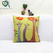 Fashion Decorative Giraffe Animal Cushion Covers Yellow Blue Red Cushion Cover Throw Pillow Cover For Home Decor Pillow Case