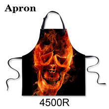 New 3D Scary Printing Apron Cotton Sleeveless Antifouling Halter Neck Apron Restaur Kitchen