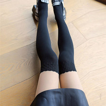 Buy 2018 harajuku kawaii New Fashion Black Stitching Lace Knee Stockings Patchwork Tattoo Tights Women Girls Sheer Footed Pantyhose