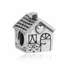 High Quality Silver Plated Bijoux Family House Charms For Original Pandora Bracelets Wholesale Diy Big Hole Cartoon Bead Gift