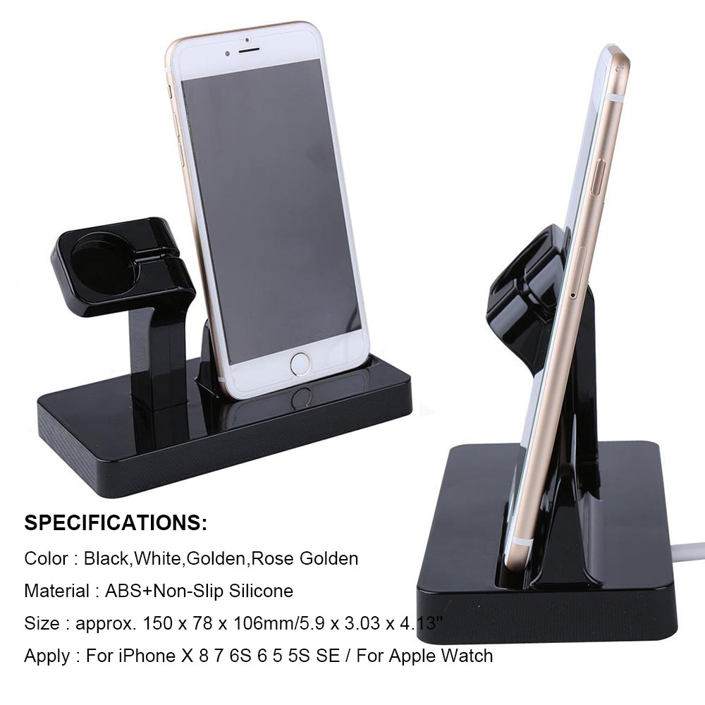 YIESOM 2 in 1 Charging Dock Station Bracket Cradle Stand Holder Charger For iPhone X 8 7 6S Plus 5S Dock For Apple Watch Charger (2)