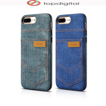 XOOMZ Fashion Jeans Pockets for iPhone 8 7 Plus Case Apple PU Leather for iPhone 7 Case Hardcase Card Slots Slim Back Case Cover(China)