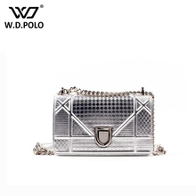 WDPOLO New mirror leather pu women purse glitter look lady bag chain silver coating girls fashion boutique hot Z1072