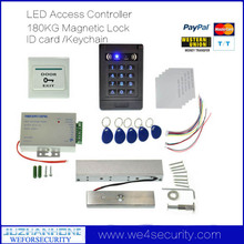 1000 Users RFID Door Access Control System 180KG Magnetic Lock ID Card Keyfob Exit Button Door Bell DC12V 3A Power Supply