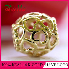 100% 14k Gold Open Your Heart w/Hinged Box 585 Charm Fit Brand Bracelet collares grandes de moda 2017 Christmas 100% Original R(China)