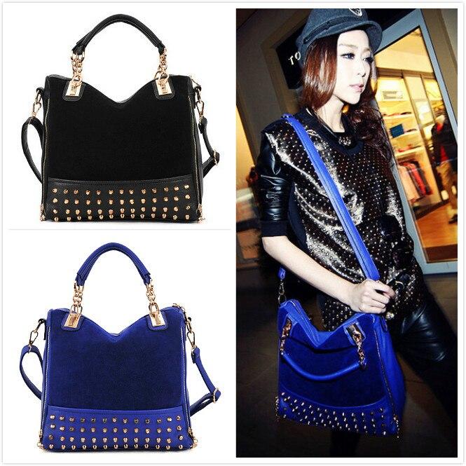 Spring Fashion New rivet women bag quality pu leather handbag shoulder temperament stitching suede high-capacity Messenger Bag<br><br>Aliexpress