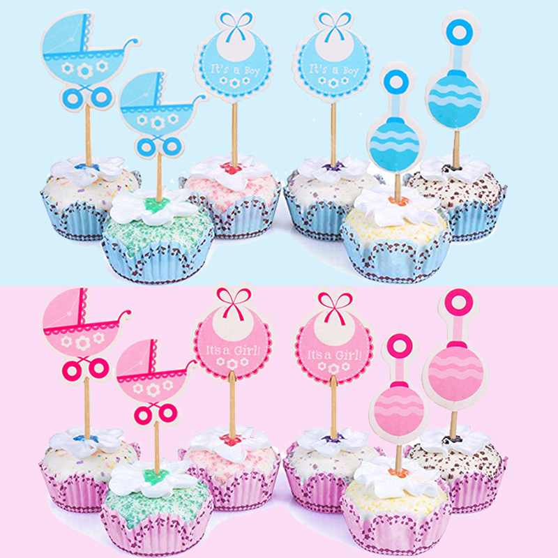 18pcs Baby Shower Cupcake Toppers Boy Girl Favors Birthday Cake Card Decor HOT