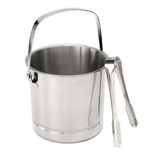 1L Stainless Steel Portable Beer Ice Bucket Champagne Cooler With Handle +ice Clip Practical Bar Container Barrel Beer Wine