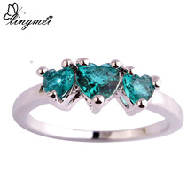 lingmei Wholesale New Fashion Love Heart Cut Green CZ Silver Color Ring Size 6 7 8 9 10 11 Nice Jewelry For Women Party Gift(China)