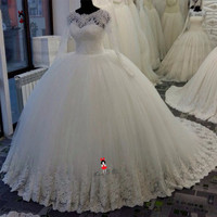 Vestidos de Novia 2019 Long Sleeve Lace Wedding Dresses Vintage Wedding  Gowns Puffy Princess Turkey Ball 9d9c76ff67ac